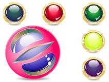 Buttons. Several brilliant varicoloured buttons and magic ball Stock Photos