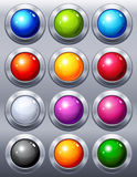 Buttons. Vector illustration - 12 multi-coloured  web buttons Stock Images