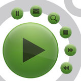 Buttons. Vector illustration - 7 different type of button, all green Stock Photo