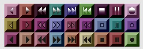 Buttons. Mix coloured 3d play music buttons Stock Image