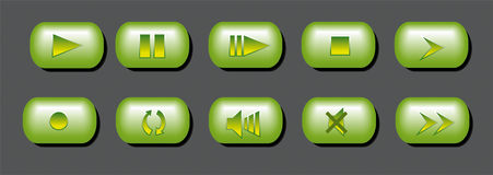 Buttons. Green 3d play music buttons Stock Image