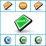 Buttons. Showing places for service, 24H 24/7, phone, 100% free and 100% guarantee Royalty Free Stock Photography