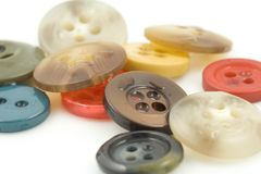 Buttons. Colorful clothing buttons on white background Royalty Free Stock Images