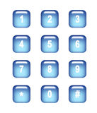 Buttons. Blue shiny numbers buttons  on white background Royalty Free Stock Photography