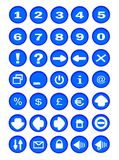 Buttons. Thirty-five buttons with icons for pc Royalty Free Stock Photography
