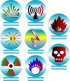 Buttons. Vector illustration of different hazard warnings Stock Photo
