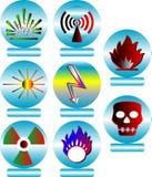 Buttons. Vector illustration of different hazard warnings vector illustration