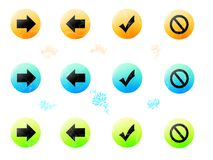 Buttons. Different colored buttons isolated with design elements vector illustration