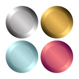 Buttons. Metal style buttons isolated on white background Royalty Free Stock Images