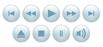 Buttons. For playback on white vector illustration