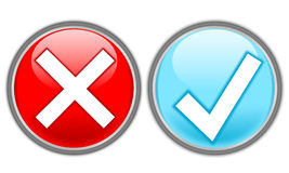 Buttons-accept and delete. Illustration of delete and accept buttons Stock Images