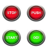 Buttons for action. This is a digital drawing of 4 different buttons with action words Royalty Free Stock Photos