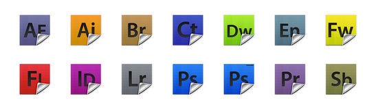 Buttons Adobe products. Complete set of 3D buttons for all Adobe products Royalty Free Stock Images