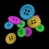 Buttons in the air. Design in 3d of some buttons of different colors on a black background Stock Photos