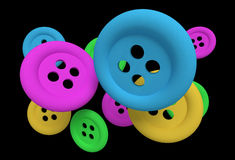 Buttons in the air. Design in 3d of some buttons of different colors on a black background Royalty Free Stock Image
