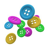 Buttons in the air. Design in 3d of some buttons of different colors on a white background Stock Photo