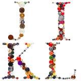 Buttons alphabet: letters J - I - K - L Stock Image