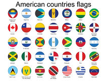 Buttons with American countries flags Royalty Free Stock Photos