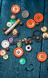 Buttons And Zipper And Sewing Tool Royalty Free Stock Image