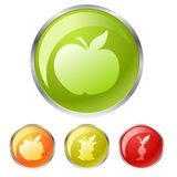Buttons with apple Royalty Free Stock Photos