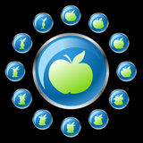 Buttons with apple Stock Photos