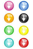 Buttons Arrow Down Stock Photography