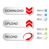 Buttons with arrow - download, reload, upload Stock Images