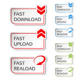 Buttons with arrow - fast download, reload, upload Stock Images