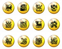 Buttons Astrology Chinese Zodiac - Whole Set Stock Photo