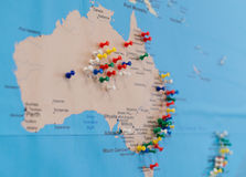 Buttons on Australia on the world map Royalty Free Stock Photography