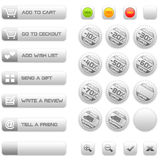 Buttons and badges for e-commerce. Set of silver buttons and badge for e-commerce, included a set of semaphores for product's availability Royalty Free Stock Image