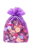 Buttons in bag. On white Stock Photo