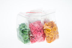 Buttons in bag Stock Images