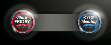 2 Buttons Black Friday Cyber Monday Banner. Black Friday and Cyber Monday button with banner on the dark background stock illustration