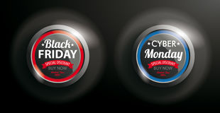 2 Buttons Black Friday Cyber Monday. Black Friday and Cyber Monday button on the dark background Royalty Free Stock Photos