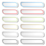 Buttons. Black, green, blue, golden, grey and red lines on white simple stickers, rectangle with rounded corners. Stock Images