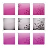 buttons blom- glansigt Arkivbilder