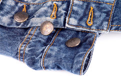 Buttons on Blue Jeans Royalty Free Stock Photos
