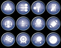 Buttons blue metal. Assorted blue-glazed sports icons and buttons with brushed metal effect surrounds Stock Image