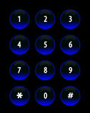 Buttons blue neon. Twelve blue neon buttons with numbers, black background stock illustration