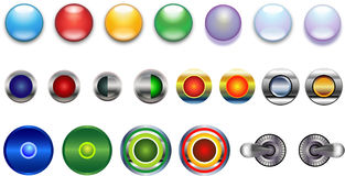 Buttons, Blue Red Yellow Green Violet Glassy Metal Stock Photo