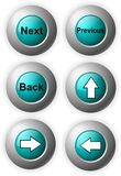 Buttons Blue Shiny. Illustration ob web buttons arrows next back Royalty Free Stock Images