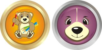 Buttons with bruins Royalty Free Stock Images