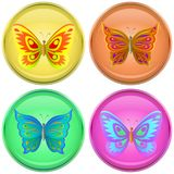 Buttons with butterflies. Icons,  buttons with multi-coloured butterflies, set Royalty Free Stock Photography