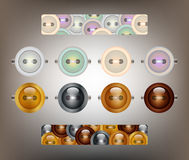 Buttons and button bars. Buttons - glossy metallic and pastel and bars filled with buttons Stock Images