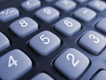 Buttons of calculator. Toning in blue color royalty free stock photos