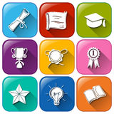 Buttons with certificates and awards Royalty Free Stock Photos