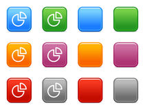 Buttons with chart icon 3. Vector web icons, color square buttons series Royalty Free Stock Photo