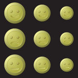 Buttons for children with flower Burgundy, green and red. Yellow buttons emoticons on a black background Stock Photos
