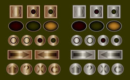 Buttons in classic metal. Classic metallic buttons in bronze and steel Stock Photos